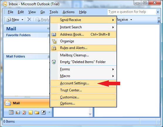 Email account setup in Microsoft Outlook 2007